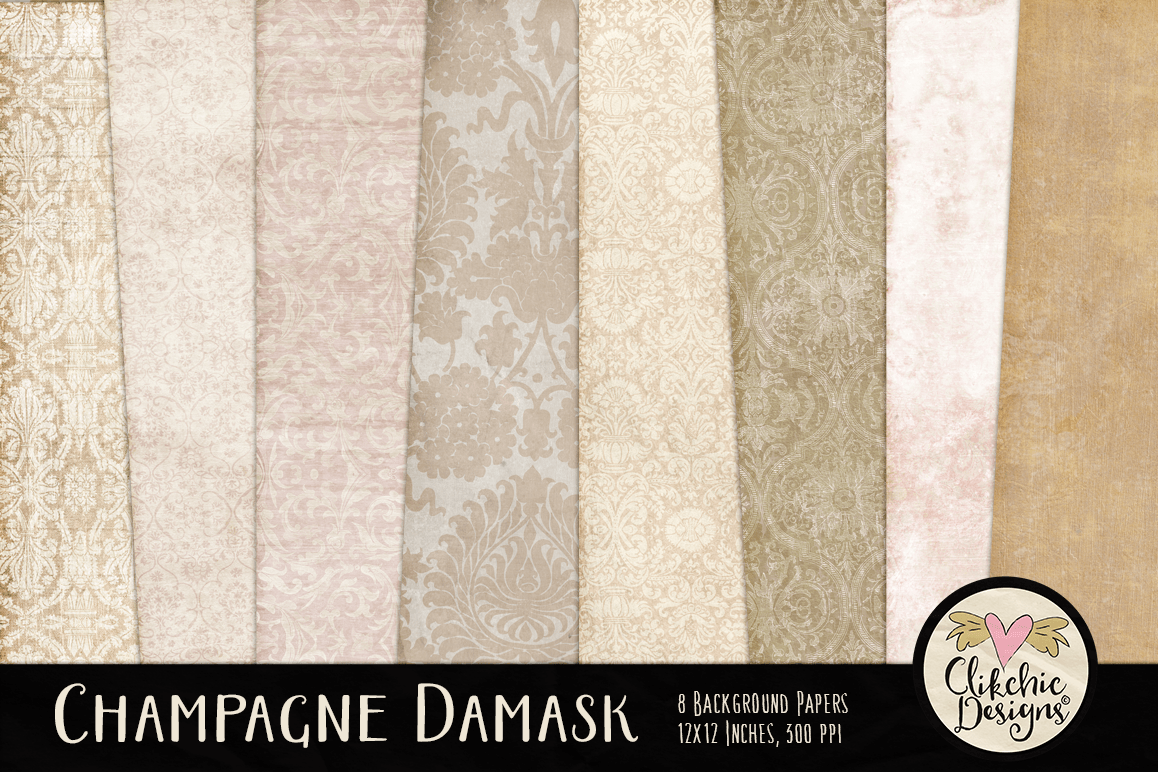 Champagne Wedding Damask Background Textures example image 1