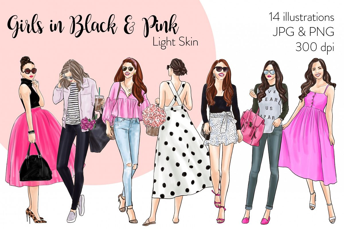 Fashion illustration clipart - Girls in Black & Pink - Light example image 1