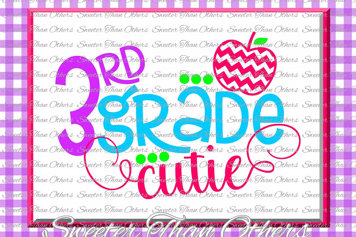 Third Grade Cutie SVG 3rd Grade cut file Last Day example image 1