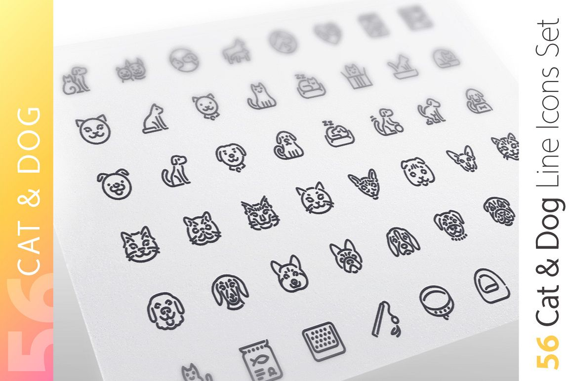 Cat & Dog Line Icons Set example image 1