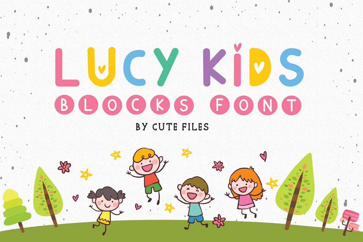 Lucy kids blocks font, A duo with hearts and blocks example image 1