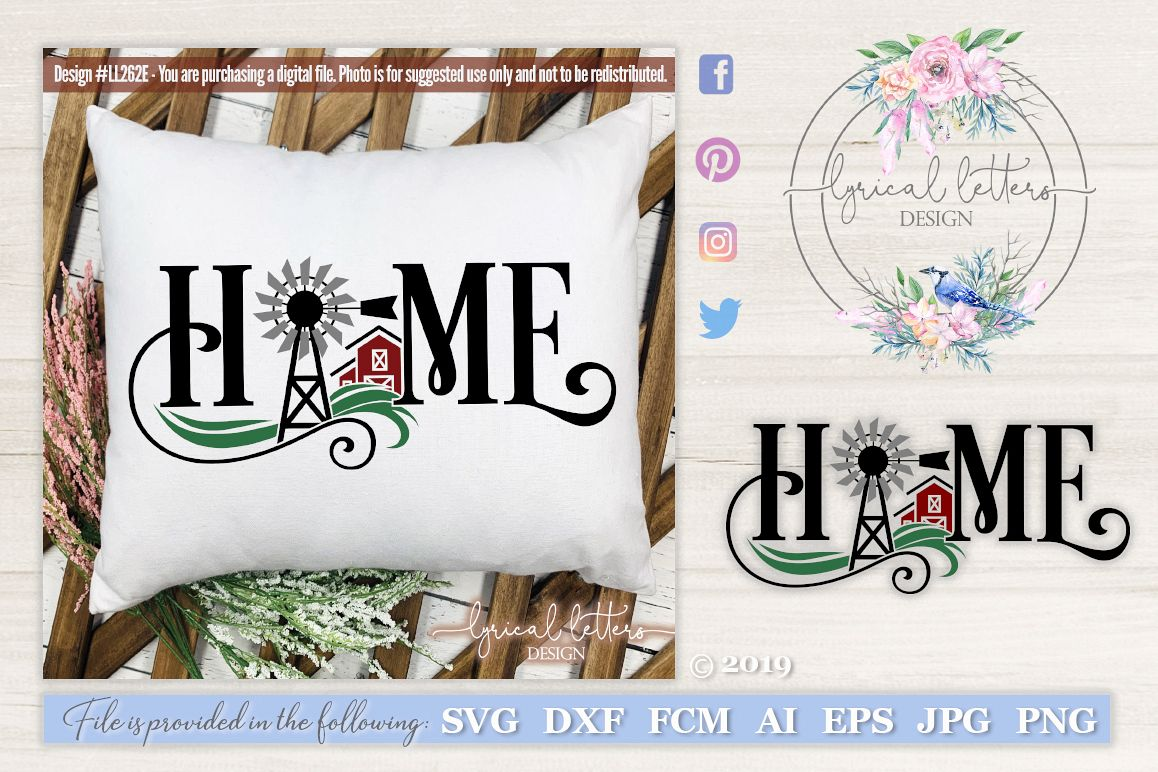 NEW! Farmhouse Home with Windmill and Barn SVG DXF LL262E example image 1