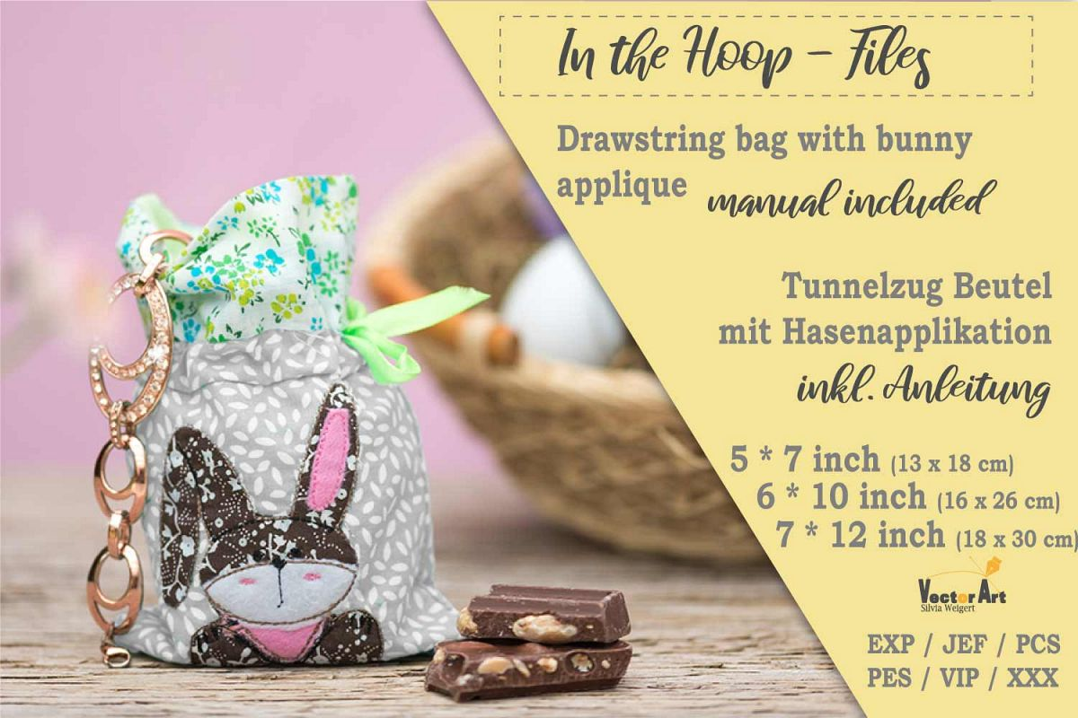 ITH -Drawstring Bag with Bunny - Embroidery File example image 1
