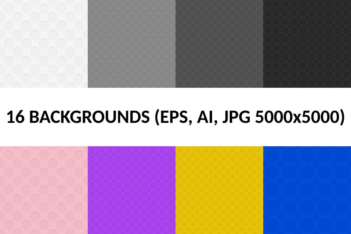 16 Seamless Circle Patterns (AI, EPS, JPG 5000x5000) example image 1