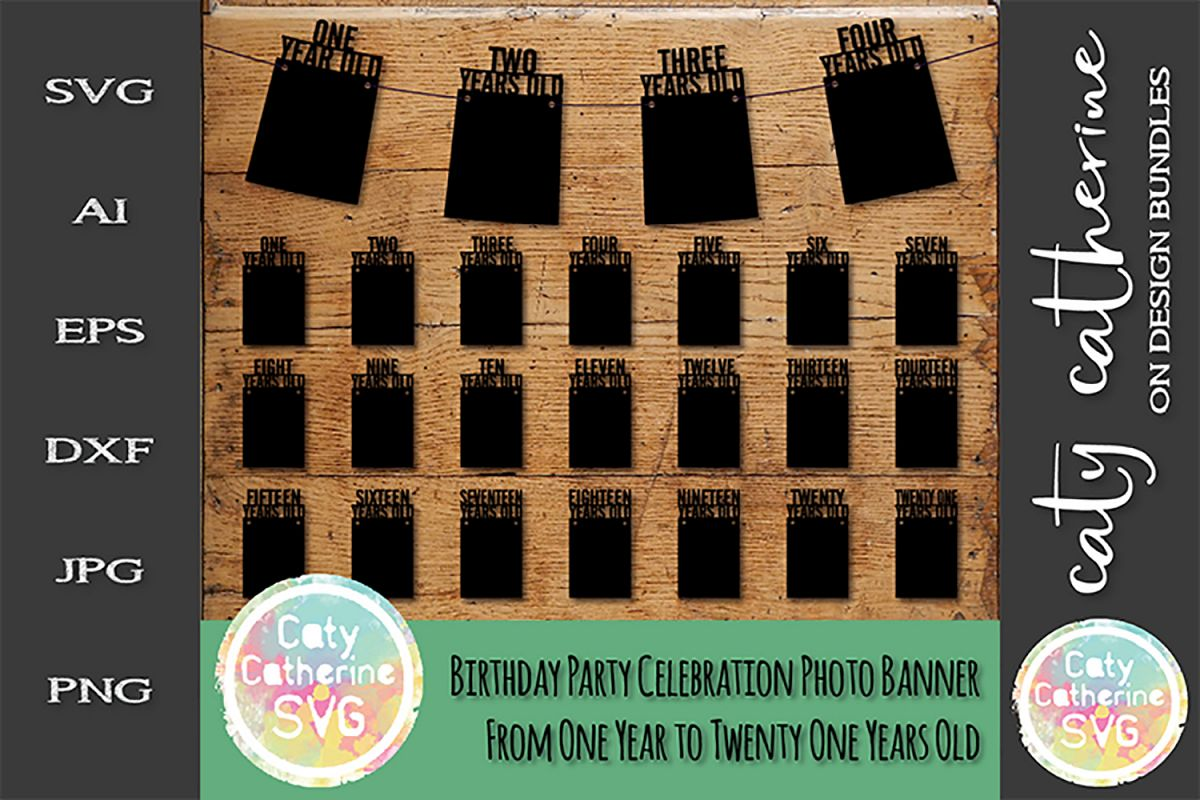 Birthday Party Celebration Photo Banner From One Year SVG example image 1