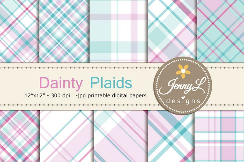 Dainty Pastel Plaid Digital Papers example image 1