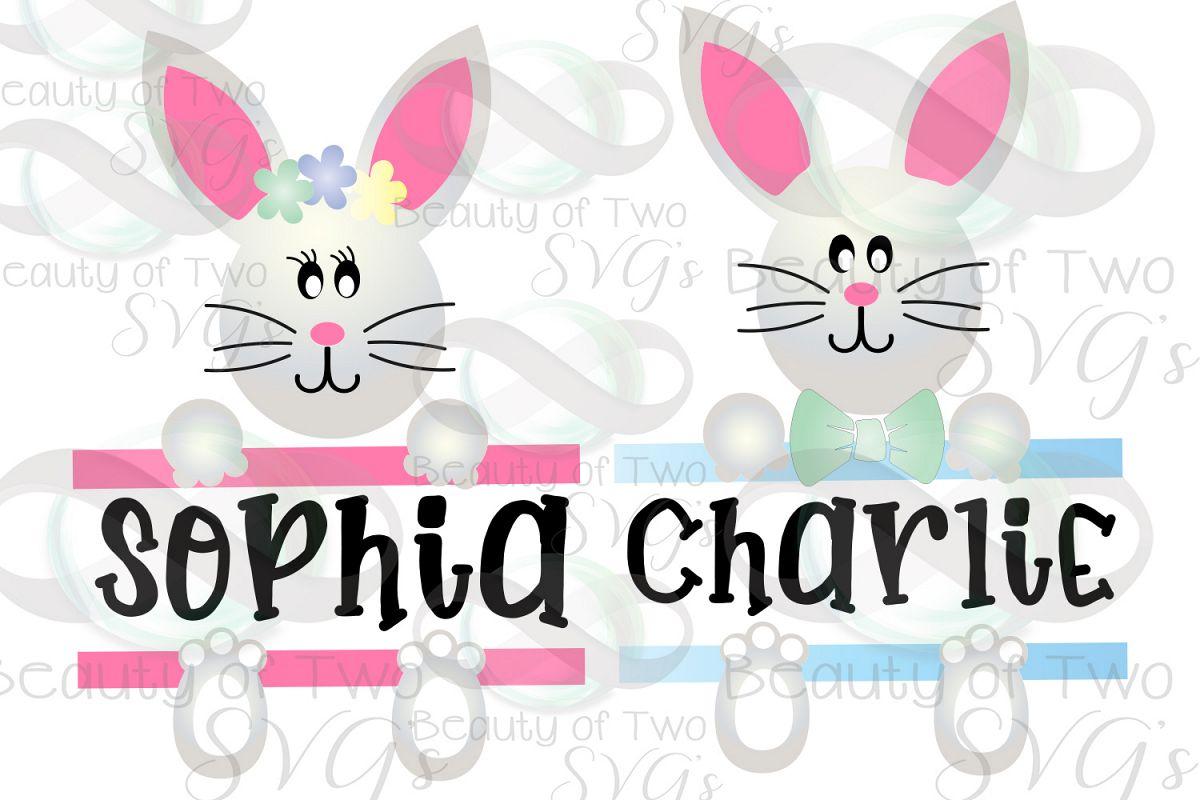 Easter Basket Bunny svg, Easter Bunny svg, Monogram svg example image 1