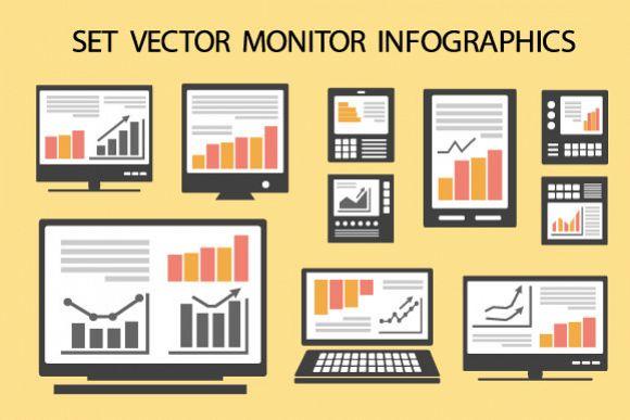 Monitor vector infographics example image 1