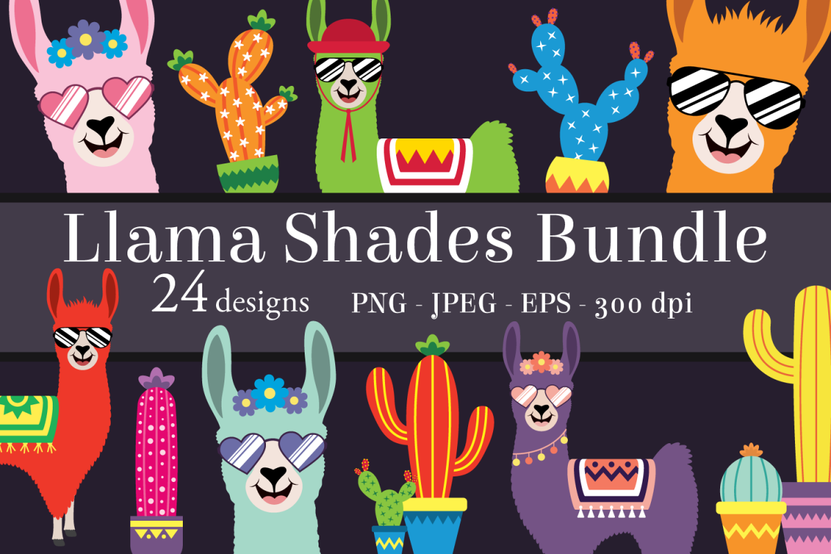 Cool Llama Clipart Bundle Fun Cacti Png Jpeg Eps
