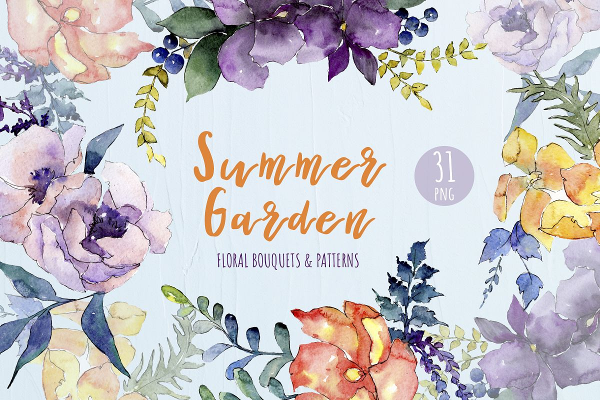 Watercolor Bouquet Summer Garden png example image 1