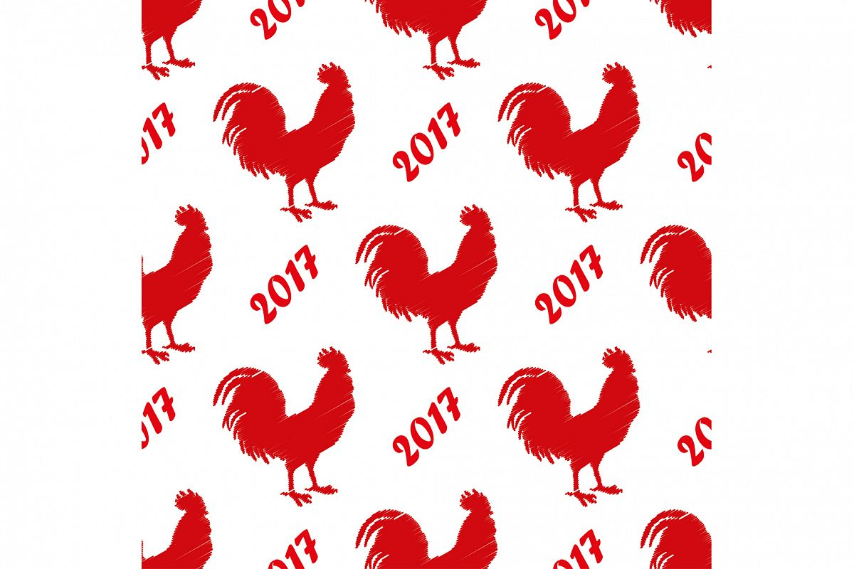 Seamless vector background with decorative roosters. Print. Cloth design, wallpaper. example image 1