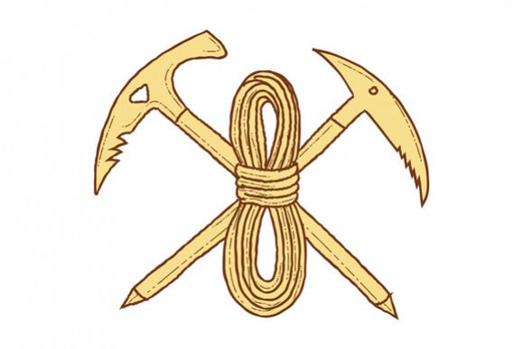 Mountain Climbing Pick Axe Rope Crossed Drawing example image 1