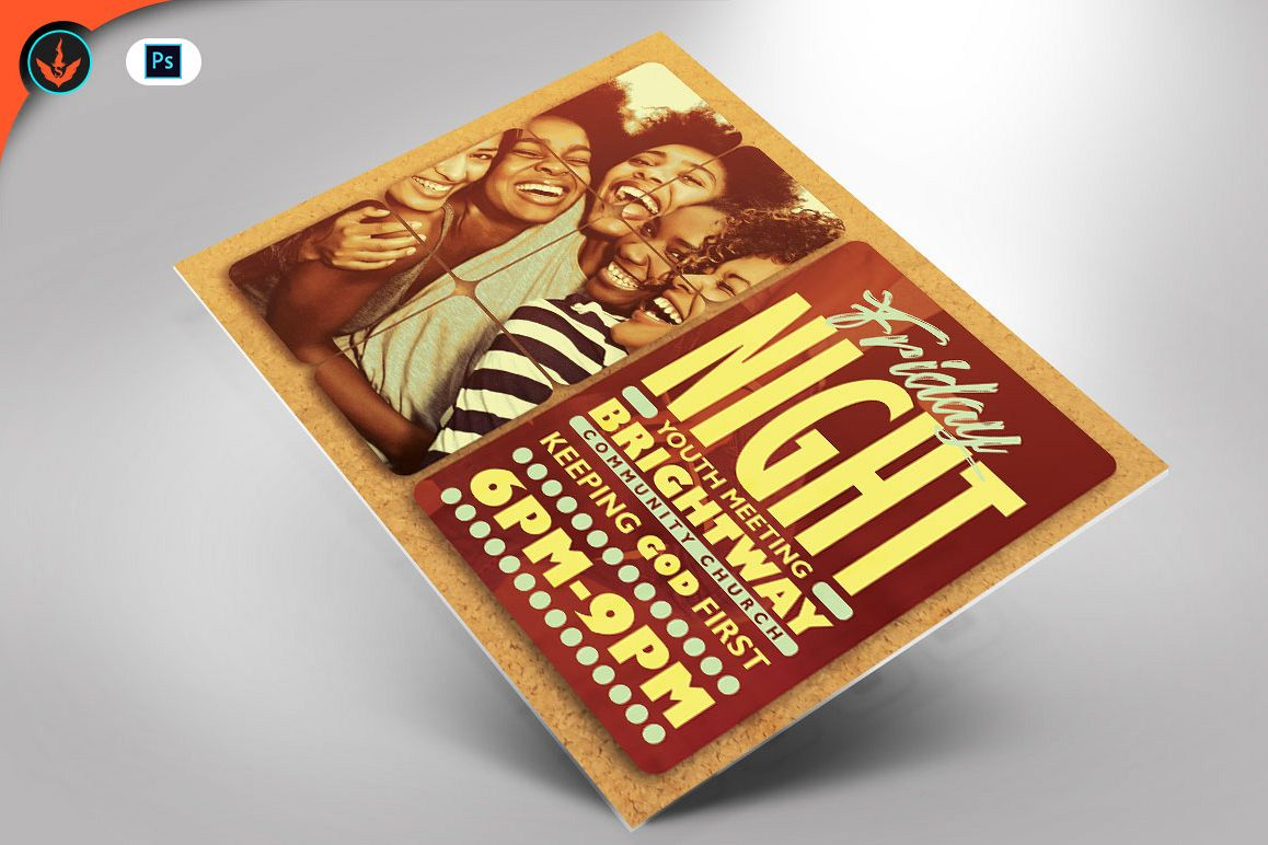 Youth Group Church Flyer Photoshop Template example image 1