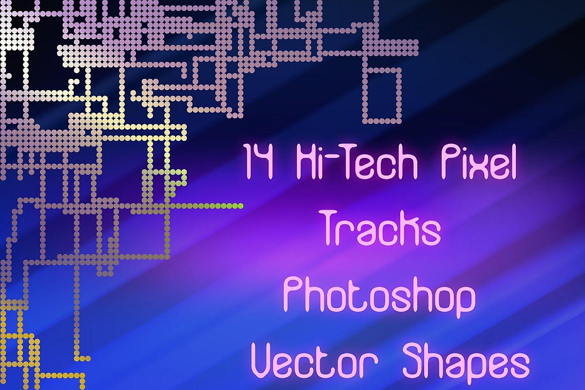 14 Pixel Track Hi-Tech Plexus Vector Photoshop Shapes example image 1