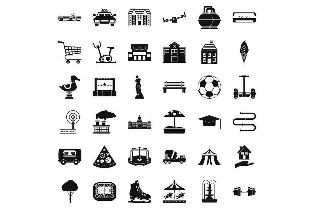 Townish icons set, simple style example image 1