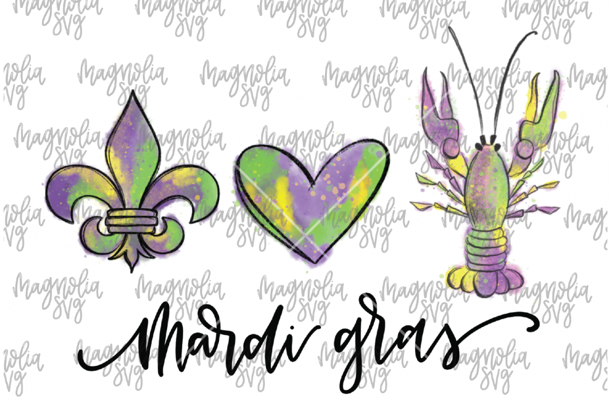 Peace Love and Mardi Gras Crawfish Graphic for Sublimation - example image 1