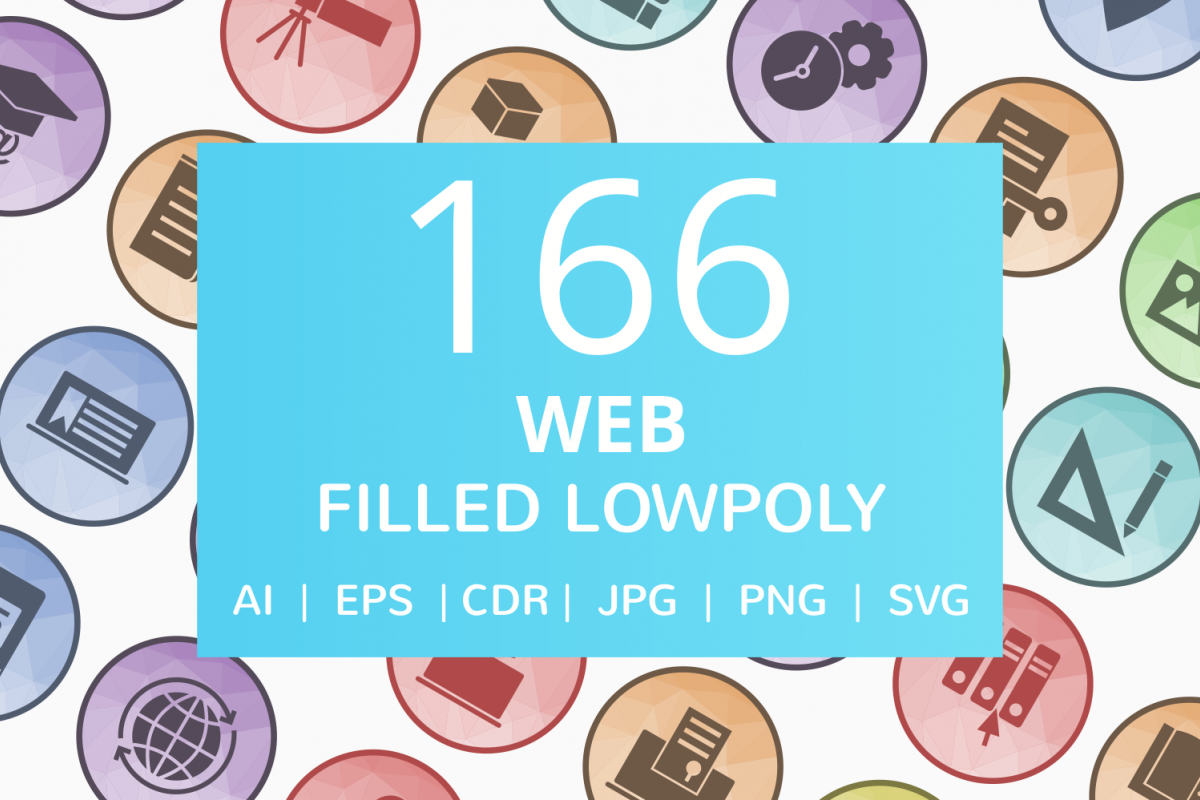 166 Web Filled Low Poly Icons example image 1