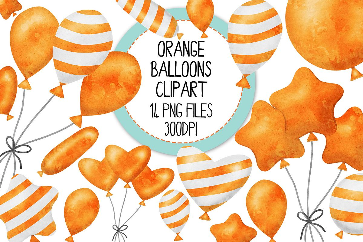 Orange Watercolor Balloon Clipart Set example image 1