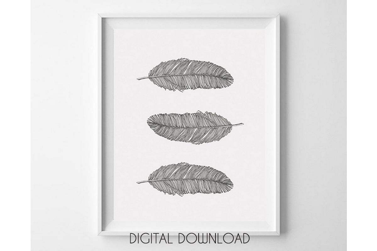 Gray Feathers Wall Art Printable, Bohemian Nursery Decor example image 1