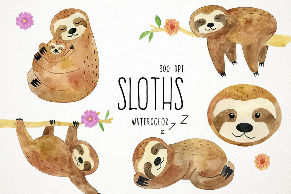 Watercolor Sloths Clipart, Animals Clipart, Sleepy Sloths example image 1