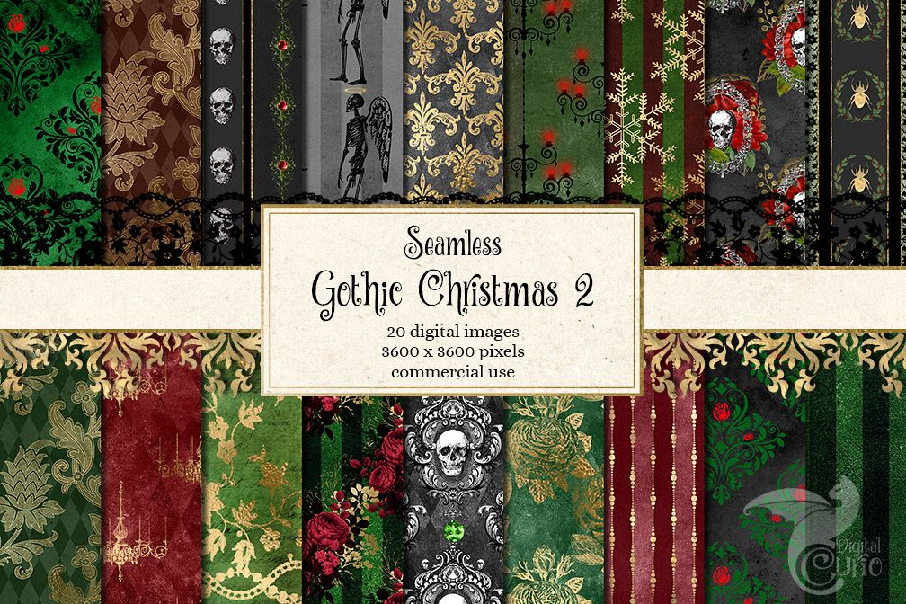 Gothic Christmas Digital Paper Set 2 example image 1