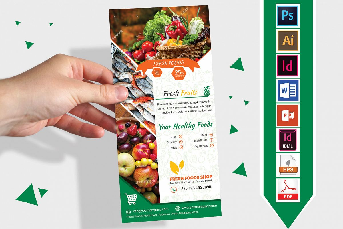 Rack Card | Fresh Food DL Flyer Vol-03 example image 1
