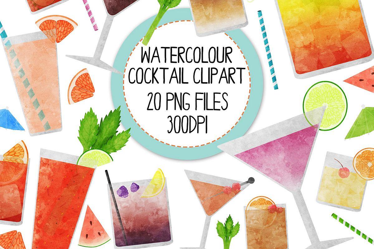 Watercolor Cocktails Clip Art Set 2 example image 1