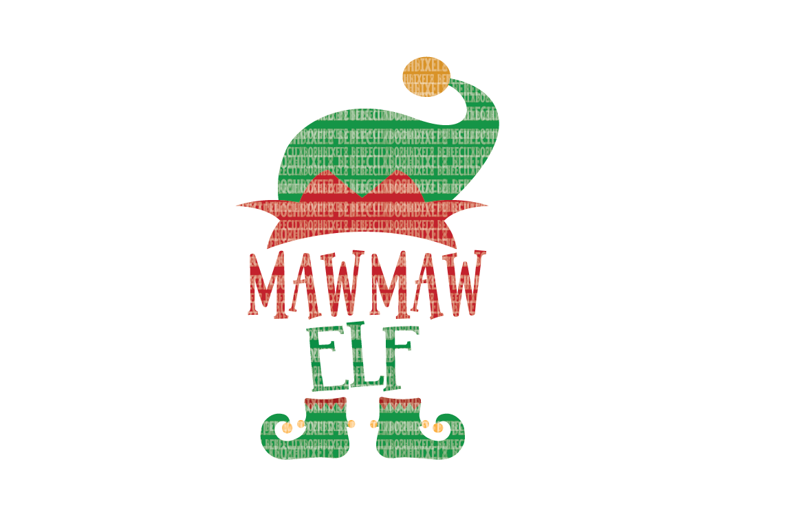 Christmas SVG File, MawMaw Elf, SVG Files for Cameo and Cricut Design Space, Iron on Decal, Printable Transfer, DXF Commercial Use, example image 1
