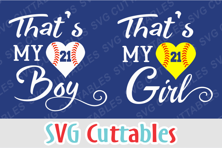 That's my Boy / Girl baseball or softball cut file example image 1