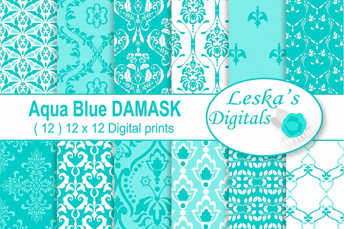 Aqua Blue Damask Digital Paper example image 1