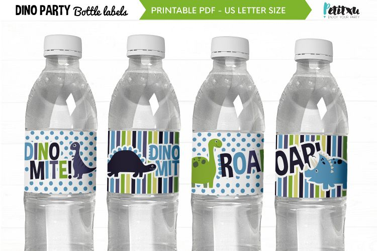 Dino party bottle labels, printable PDF, dino Birthday party example image 1