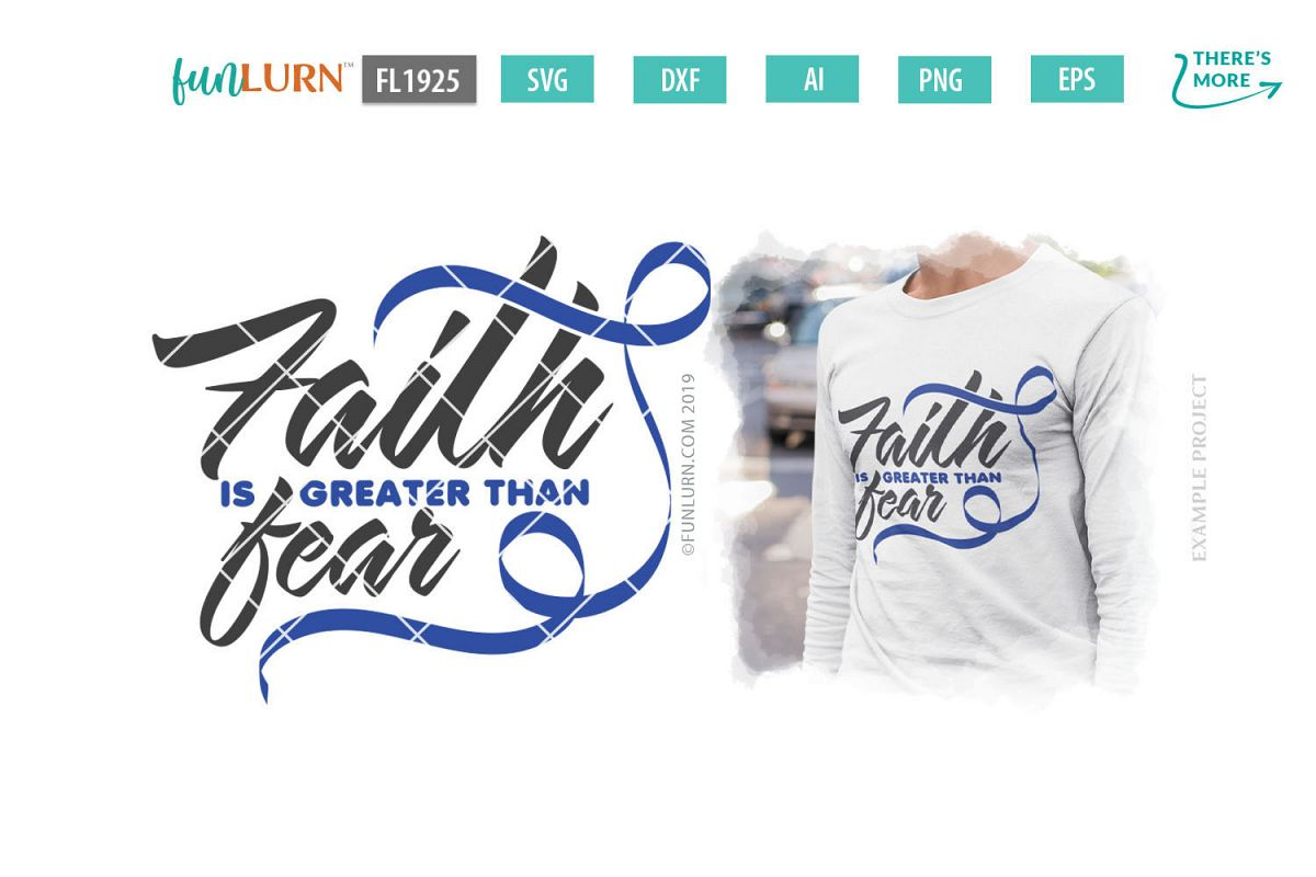 Faith is Greater Than Fear Dark Blue Ribbon SVG Cut File example image 1