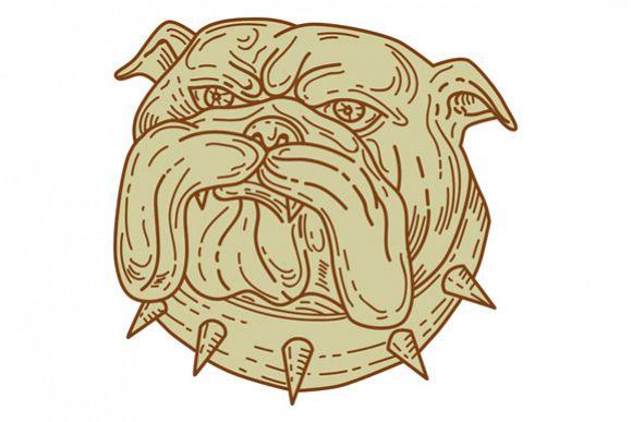 Bulldog Dog Mongrel Head Collar Mono Line example image 1
