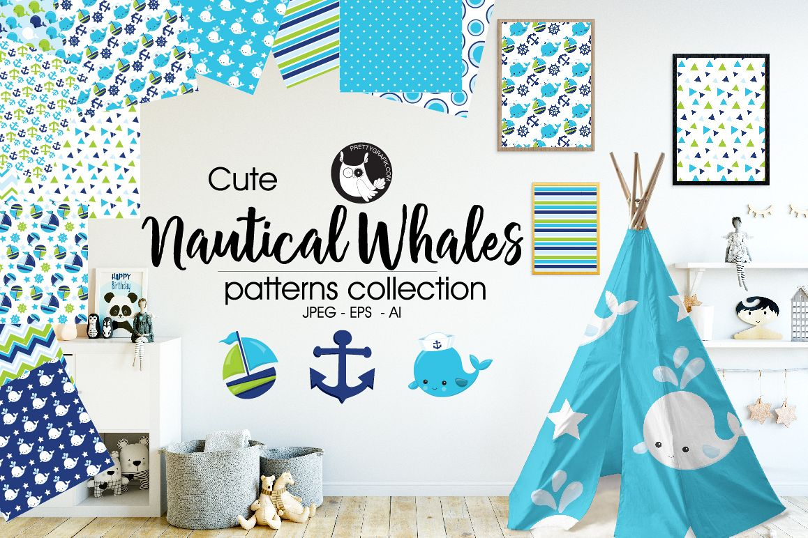 NAUTICAL-WHALES, digital papers example image 1
