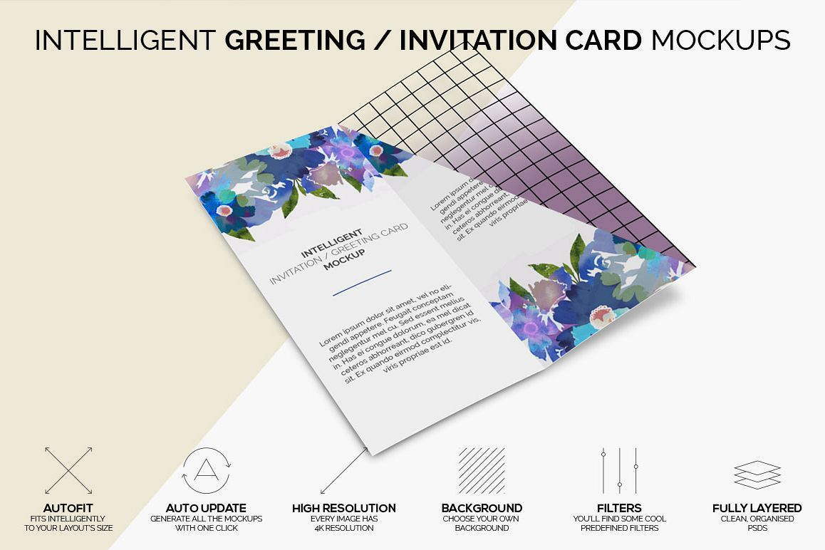 Intelligent Invitation Greeting Card Mockup