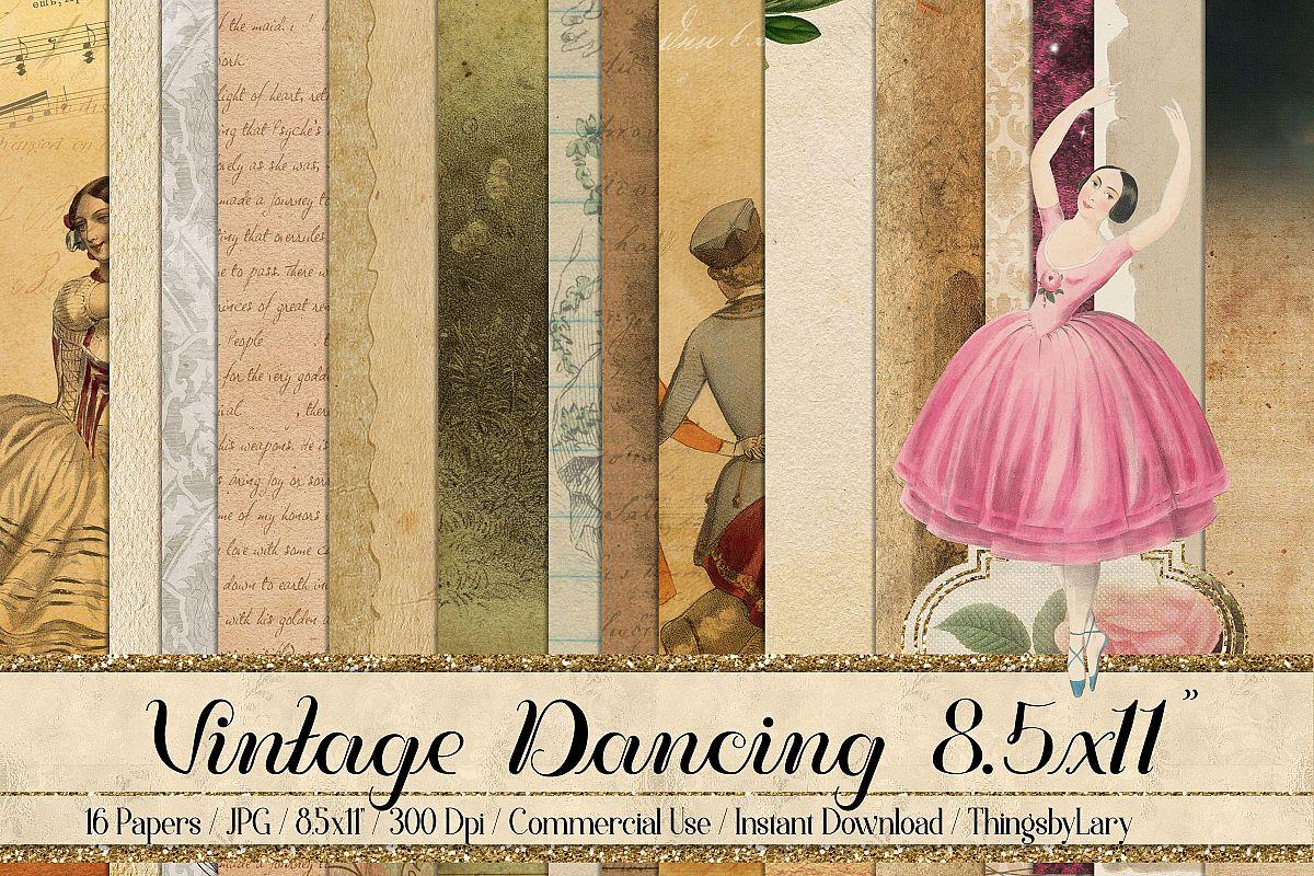 "16 Antique Ephemera Dancing Ballerina Digital Papers 8.5x11"" example image 1"