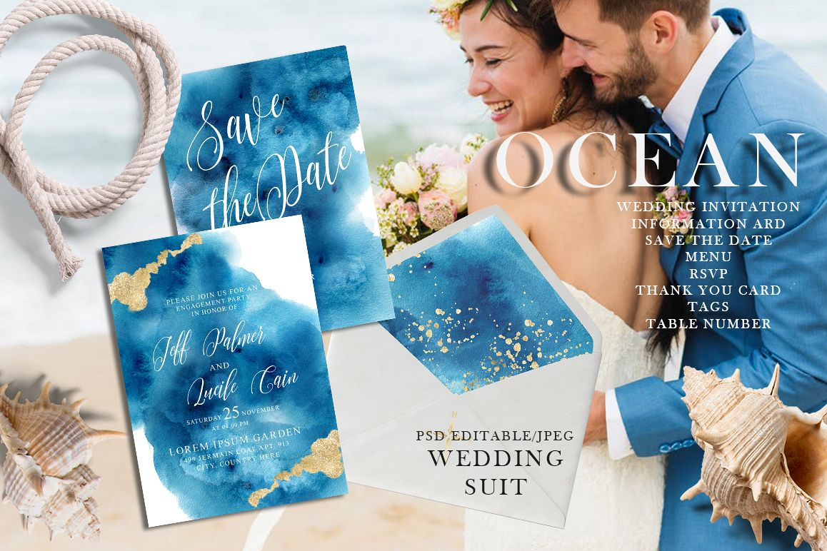 Ocean wedding invitations suit example image 1