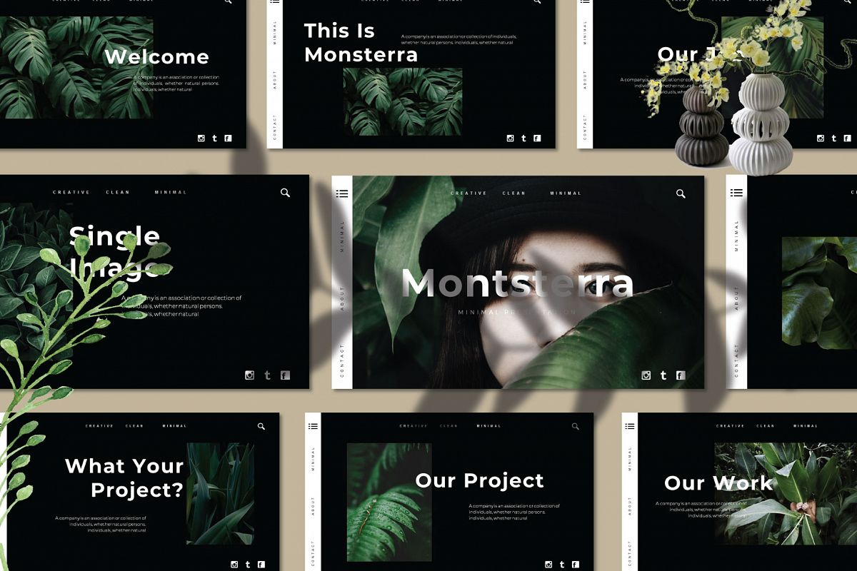 Monsterra Powerpoint Template example image 1