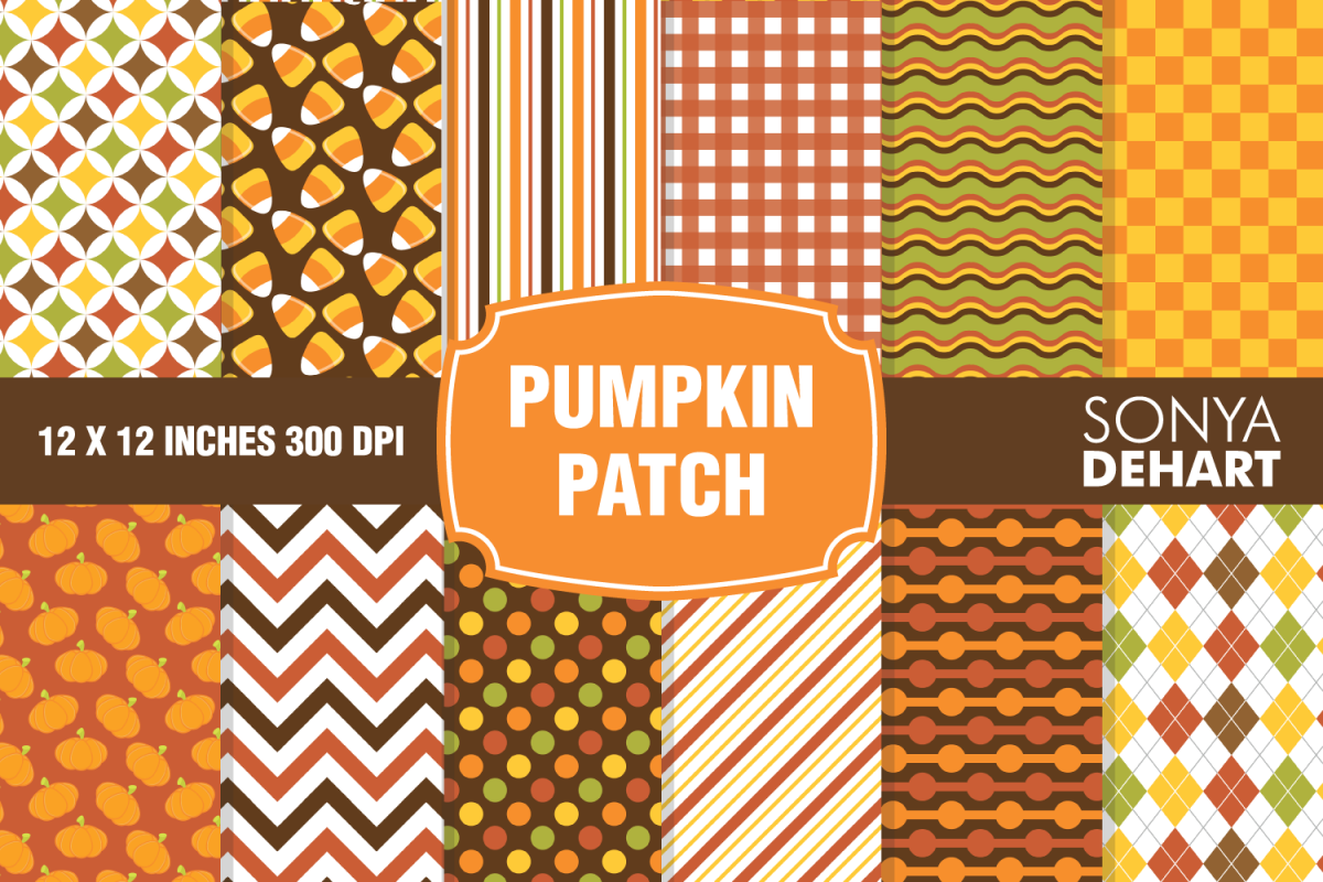 Pumpkin Patch Fall Autumn Digital Paper Pattern Pack example image 1