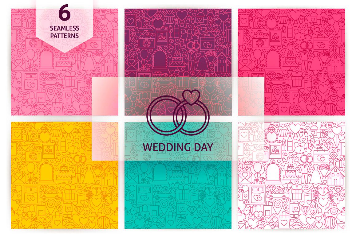 Wedding Line Seamless Patterns example image 1