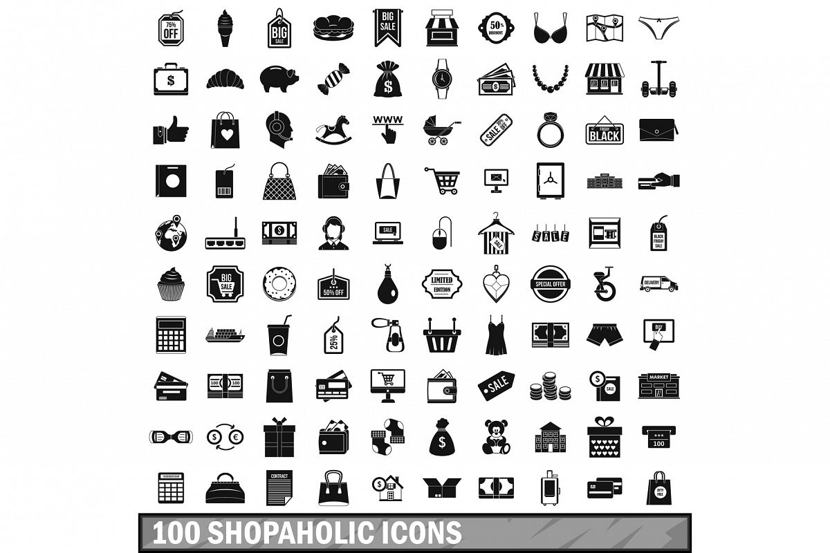 100 shopaholic icons set, simple style example image 1