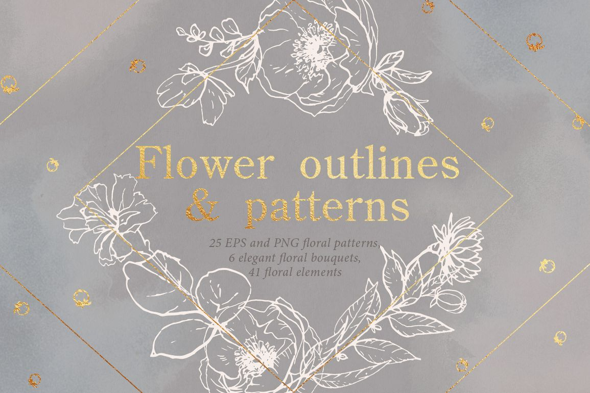 Flower outlines & patterns example image 1