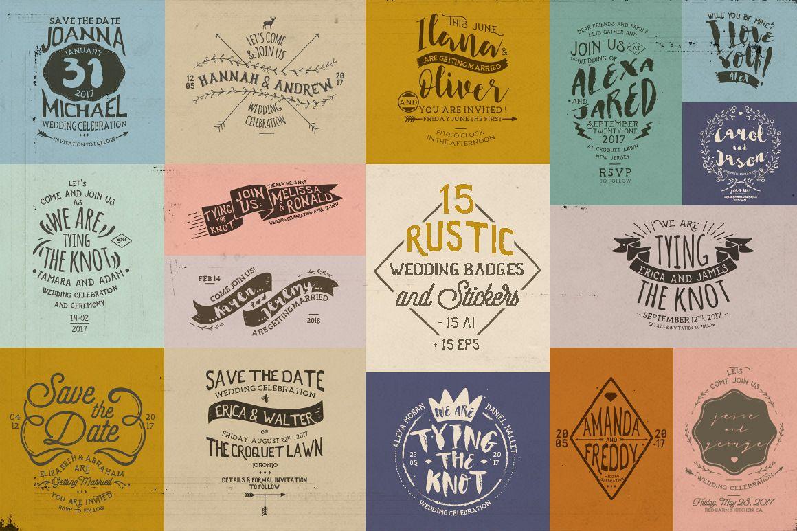 Rustic Wedding Badges & Sticker example image 1