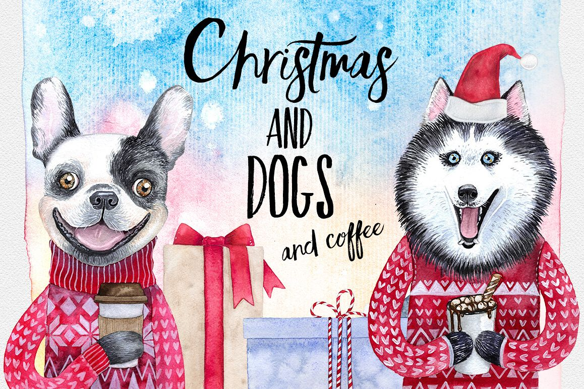 CHRISTMAS AND DOGS watercolor set example image 1