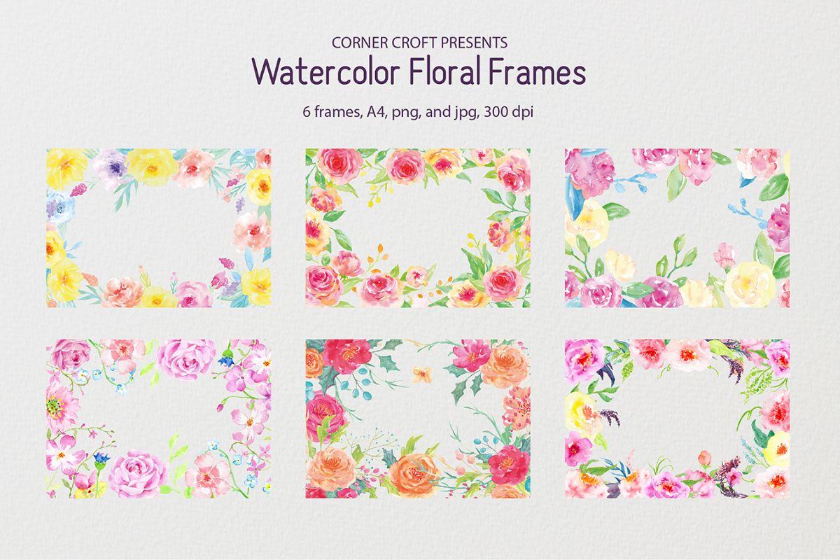 Watercolor floral frames - 8\