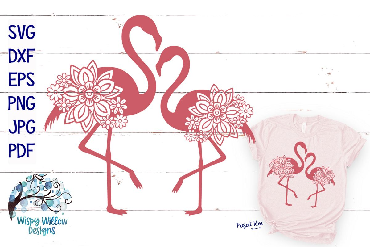 Double Floral Flamingo SVG Cut File | Summer SVG example image 1