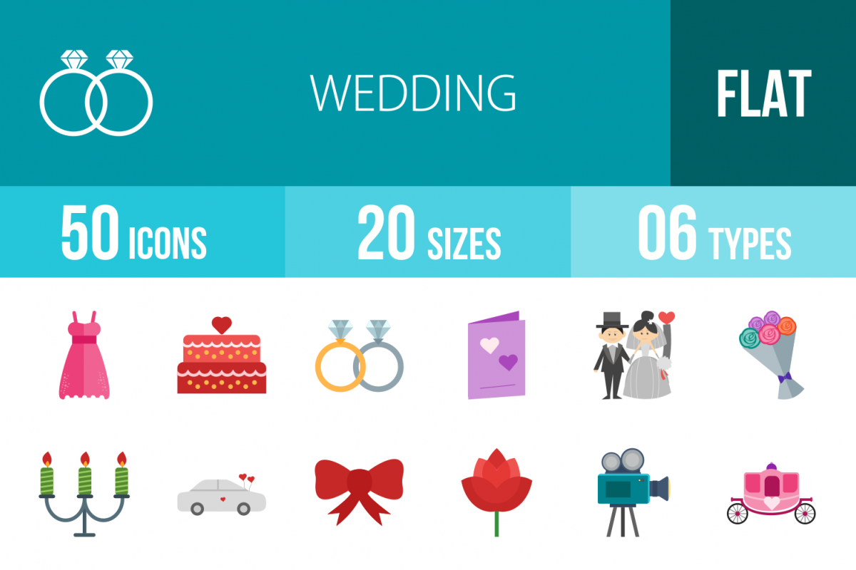 50 Wedding Flat Multicolor Icons example image 1