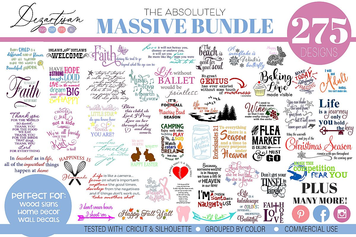 Massive Bundle of 275 SVG DXF cut ready files example image 1