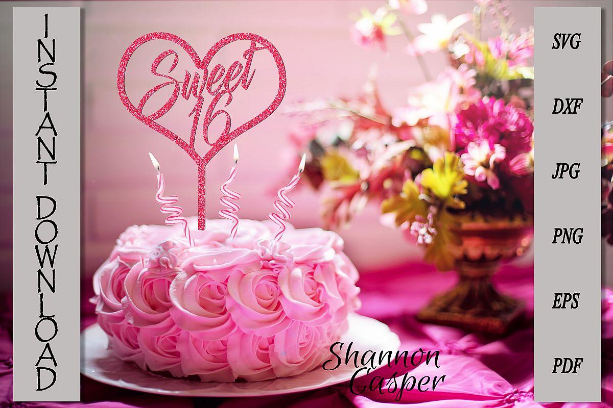 Sweet 16 Happy Birthday Cake Topper example image 1