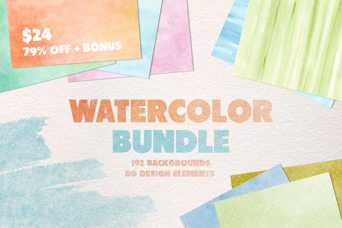 Watercolor Texture Bundle + Bonus example image 1